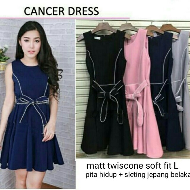 Lj#FN-CANCER DRESS 68.000 Bahan twiscone fit L belakang sleting jepang