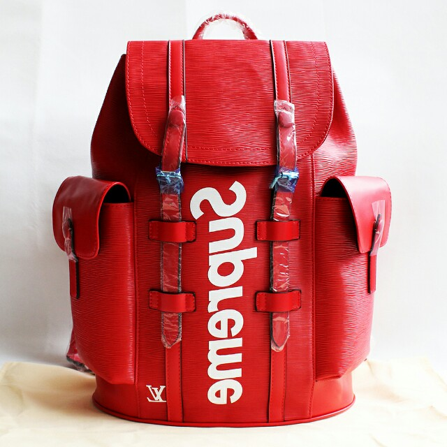 LV Supreme Backpack Red, Women's Fashion, Bags & Wallets On Carousell