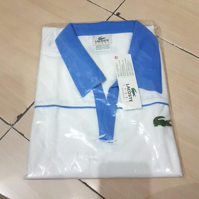 (NEW) T-SHIRT/BAJU KEMEJA LACOSTE SPORT WARNA BLUE WHITE.