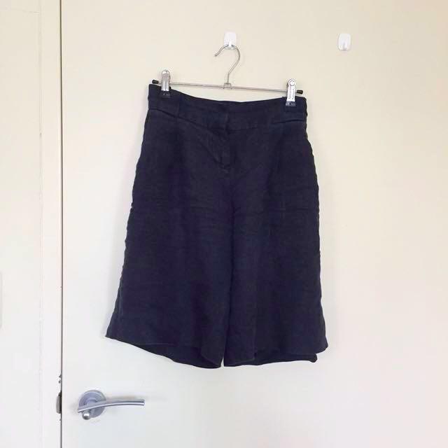 Oxford linen shorts