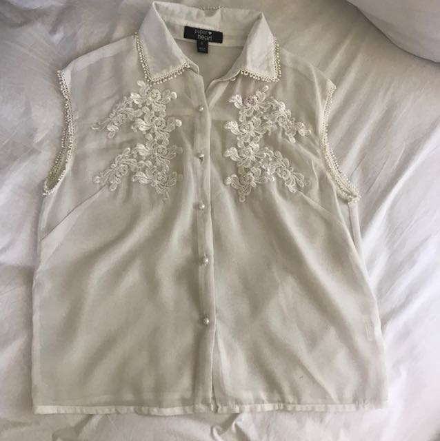 Paper Heart - White Collared Top