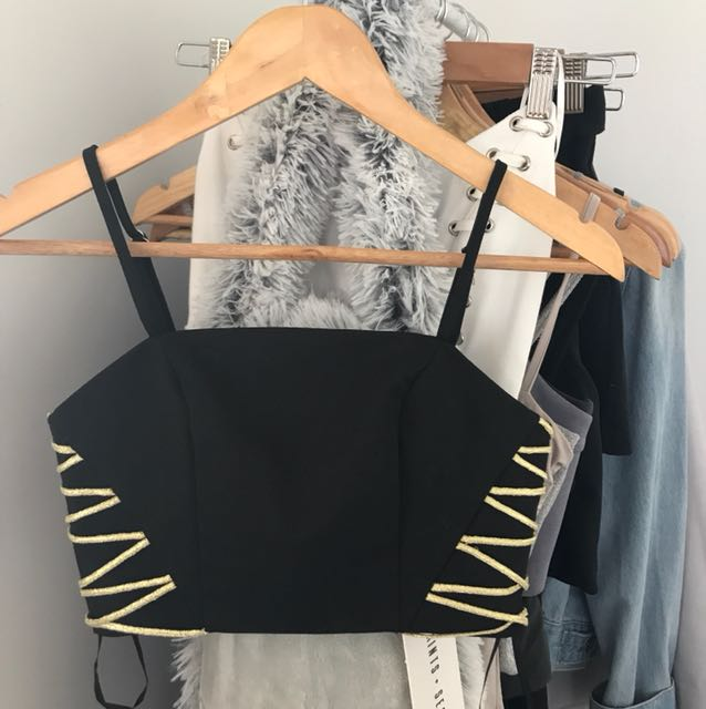 PEPPERMAYO Black Zip Up Crop Top with Gold Detailing
