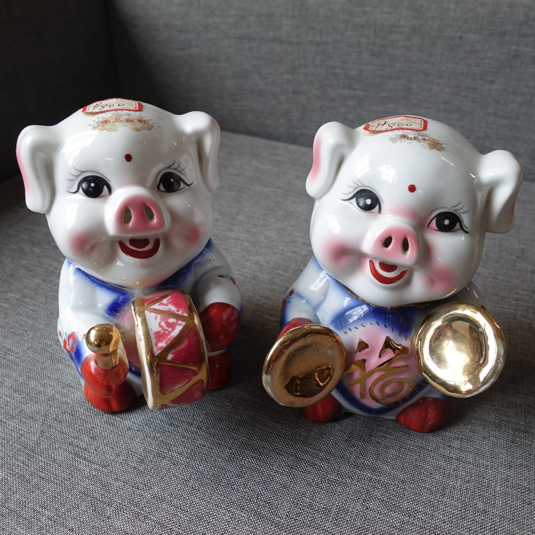 Pigs with Musical Instruments Figurines