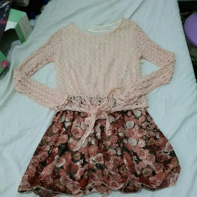 Pink and floral knitted dress