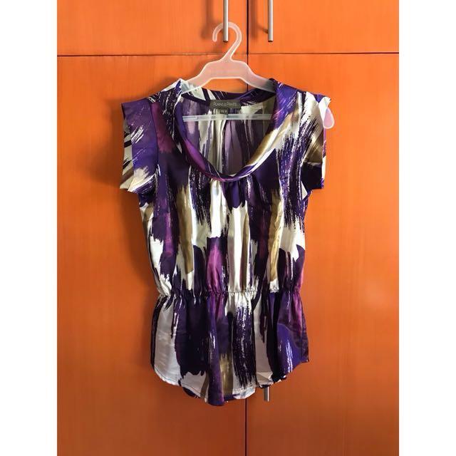 Plains & Prints Purple Satin Blouse