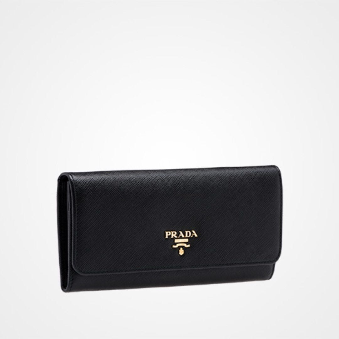 c46a301eb112 Prada Saffiano Leather Long Wallet (Vitello Move, Nero), Women's ...