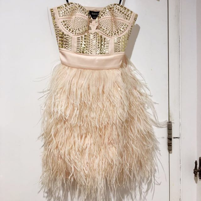 Pre loved Bebe beige cocktail party dress