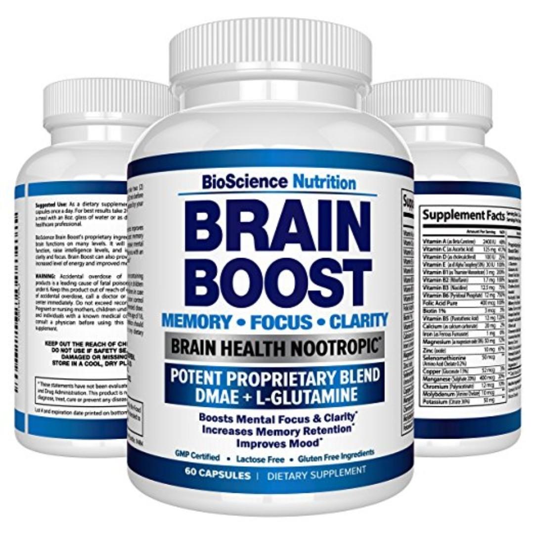 Premium Brain Function Supplement – Memory, Focus, Clarity – Nootropic Booster with DMAE, Bacopa Monnieri, L-Glutamine, Vitamins, Minerals -...