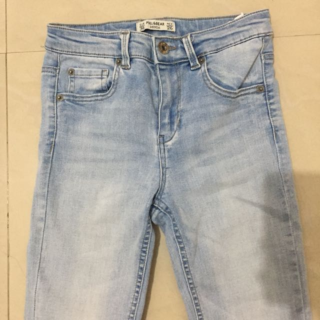pull and bear slim fit cropped jeans cut out knee