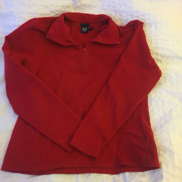 Red gap fleece sweater
