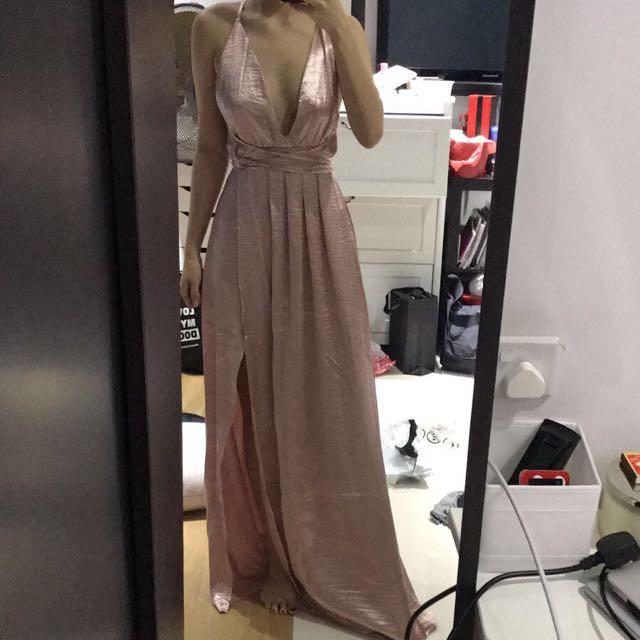 c63f6da430 RENTAL  Cross back pink satin maxi dress