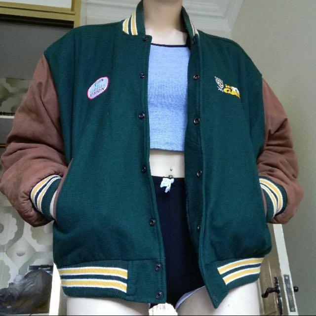 Retro Vintage Bomber Jacket Real Leather