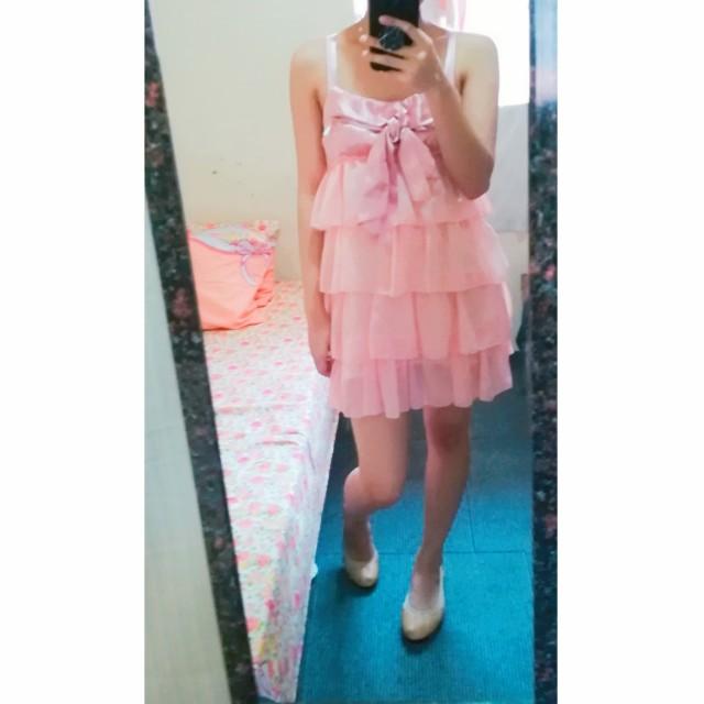 Peachy pink ruffle dress