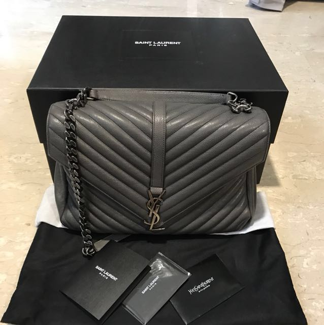 0cb3baa5a9 SAINT LAURENT LARGE COLLEGE BAG IN ASPHALT GRAY QUILTED LEATHER ...