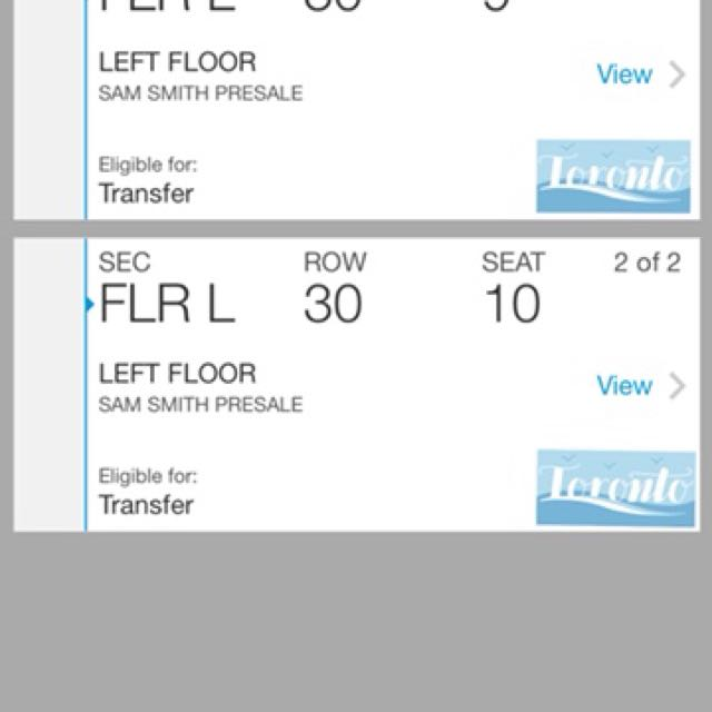Sam Smith FLOOR Tickets @ Jun 18