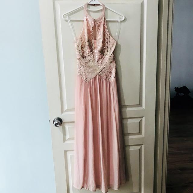 Shareen Sequinned halter neck maxi dress in pink color #Midjan55