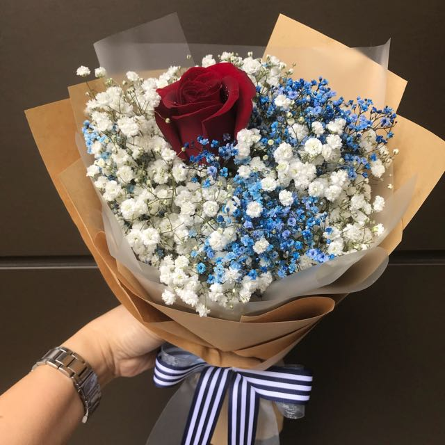 Single Rose With Blue And White Baby Breath Hand Bouquet