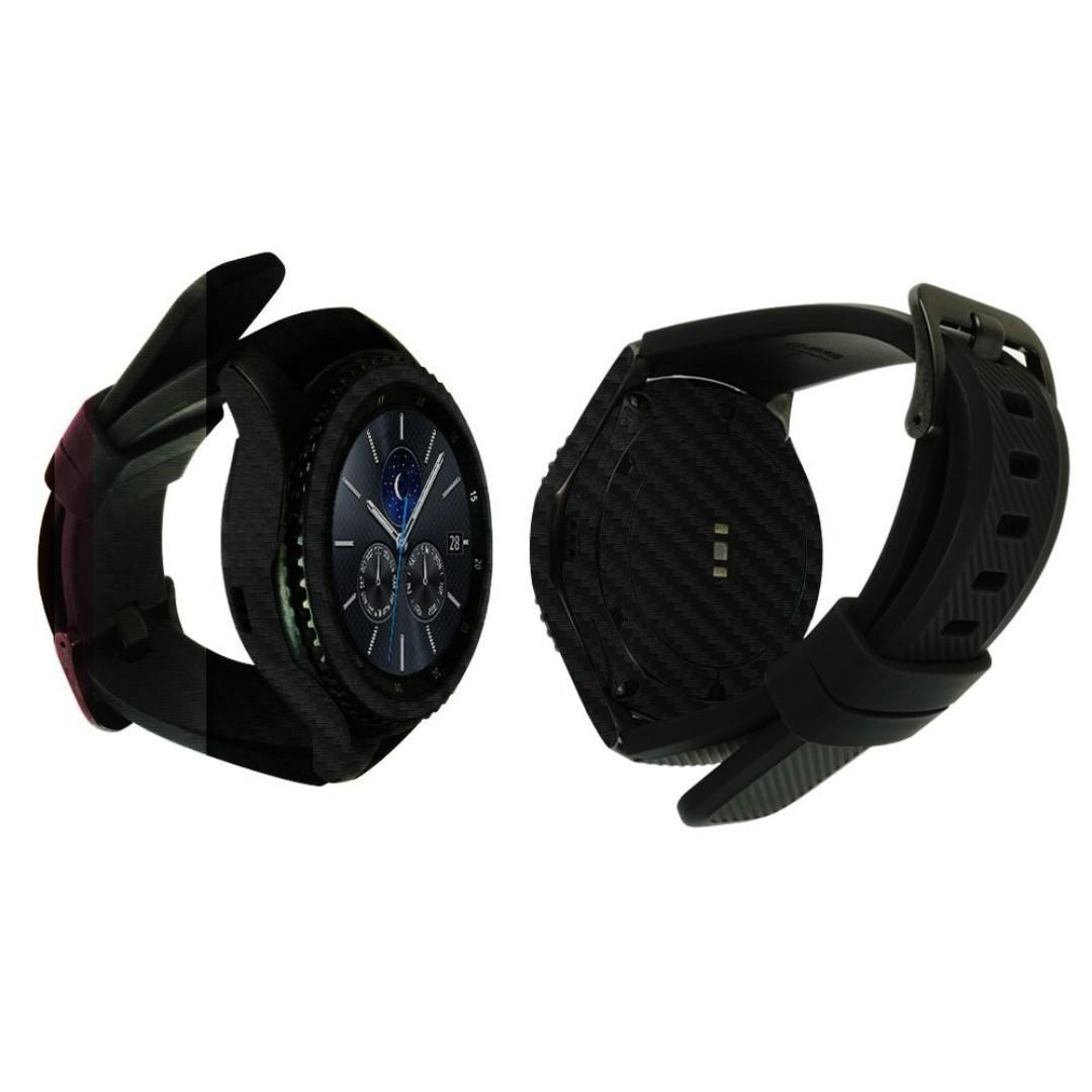 Skinomi TechSkin - Gear S3 Frontier Screen Protector + Carbon Fiber Full Body Skin / Front & Back Wrap Clear Film / Ultra HD and Anti-Bubble Shield