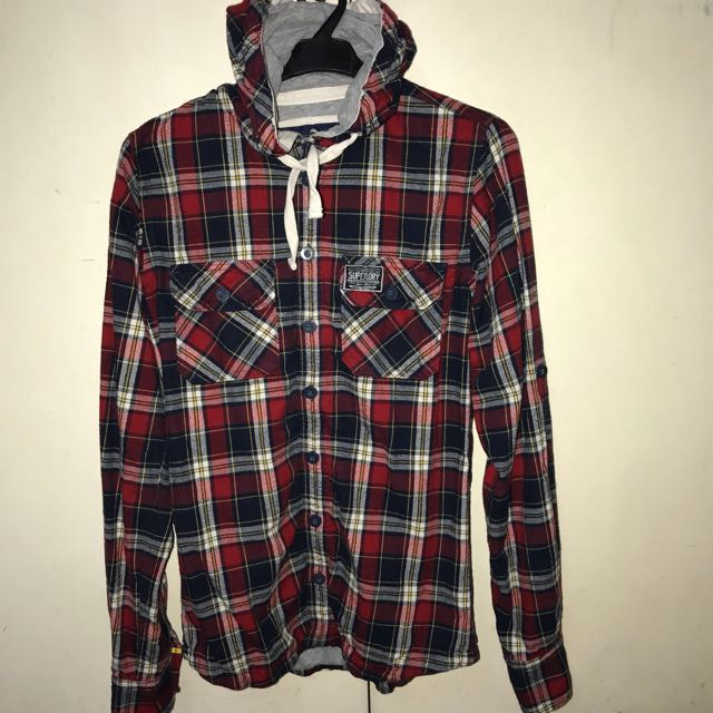 SUPERDRY Hoodie Checkered small size, (slim fitted)