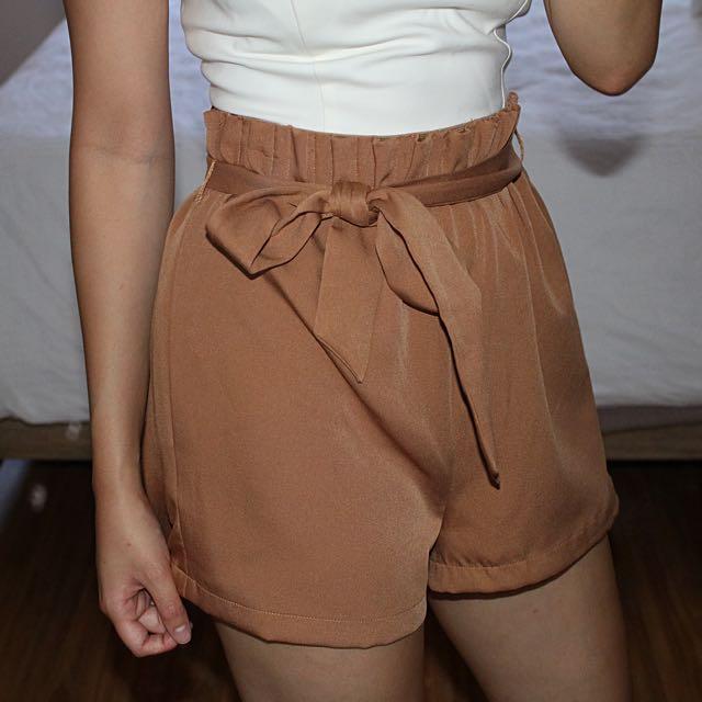 Tan High Waisted Shorts