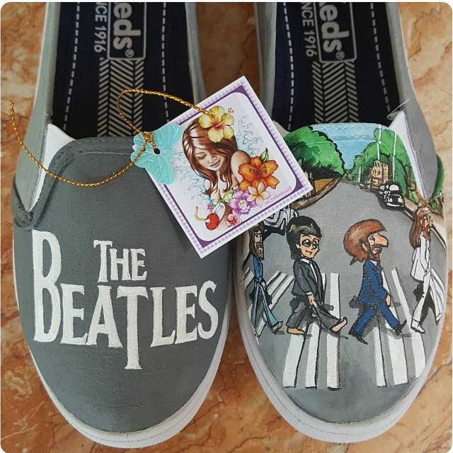 The Beatles customized handpainted shoes