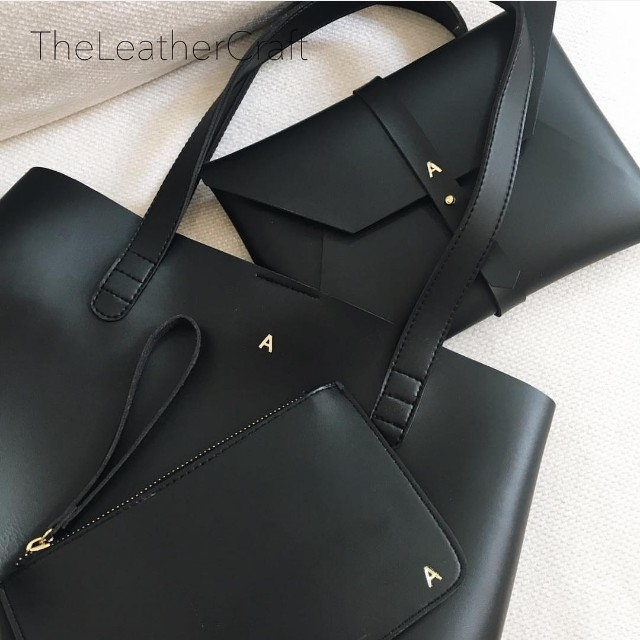 The Leather Craft Vegan Leather Bag and Pouch Set