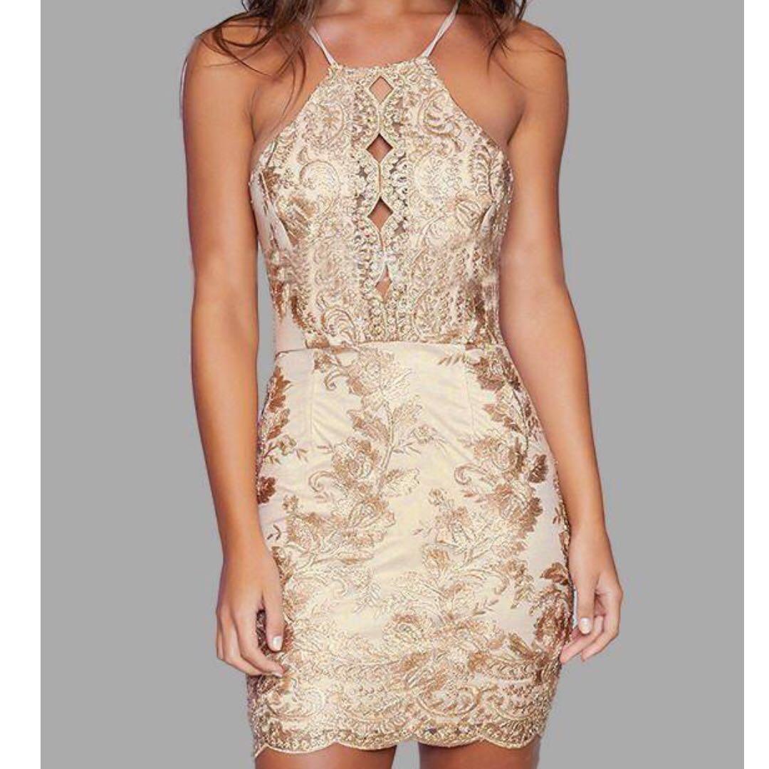 Gold Backless Dress