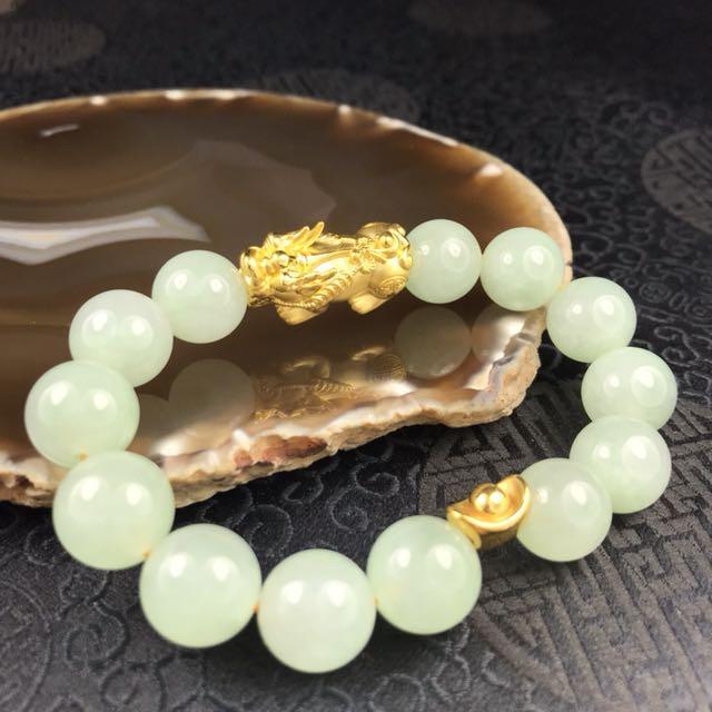 Electronic Recruitment Application Era Myanmar: Type A Burmese Jadeite Beads With 999 Pure Gold Pixiu 2