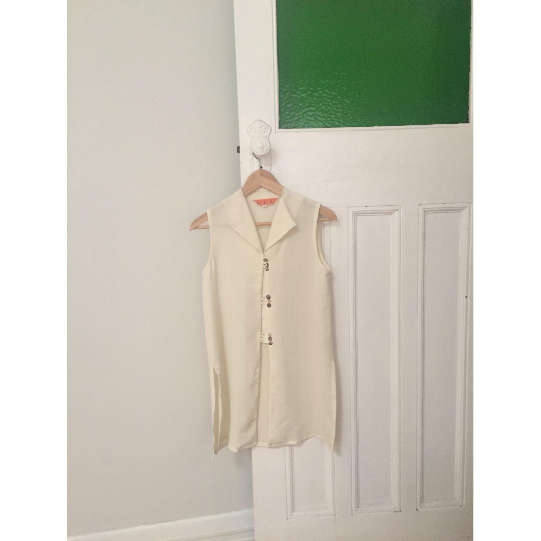 Vintage Cream Long Vest