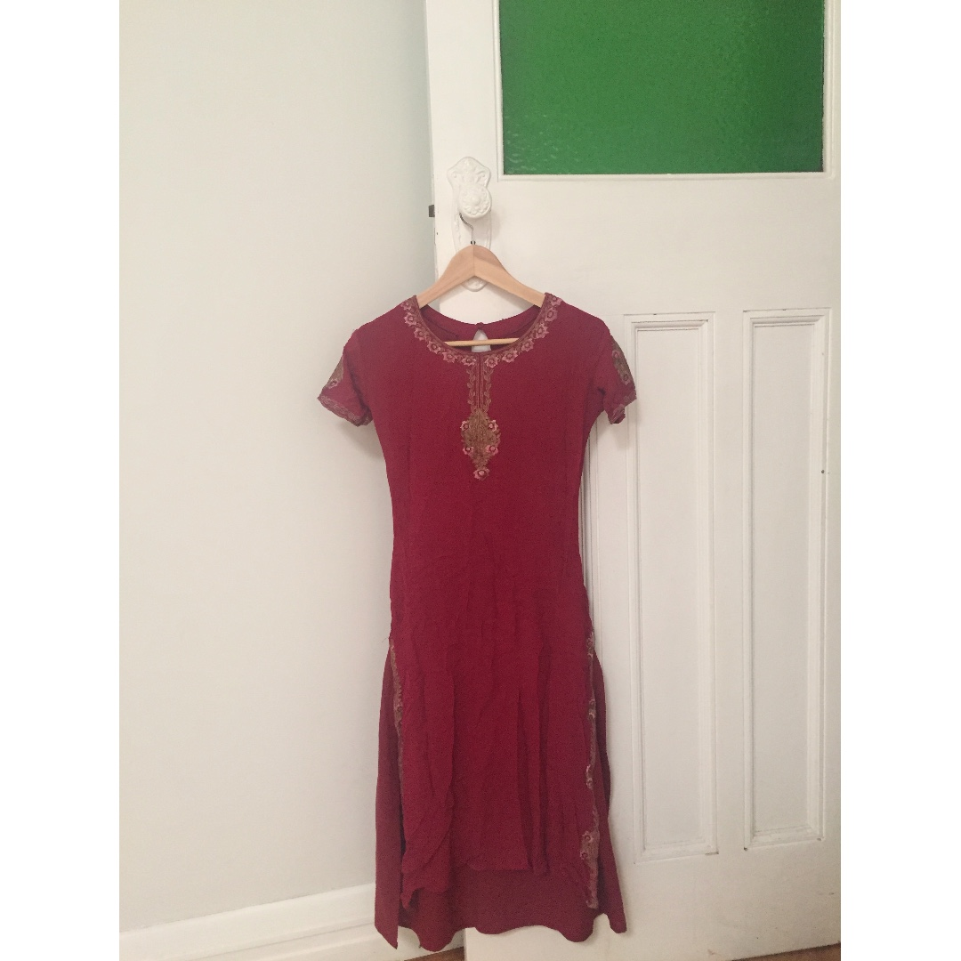 Vintage Embroidered Asian Inspired Red Dress