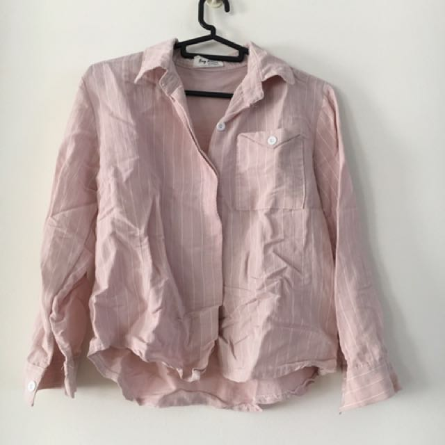 White Striped Pink Long Sleeve Top