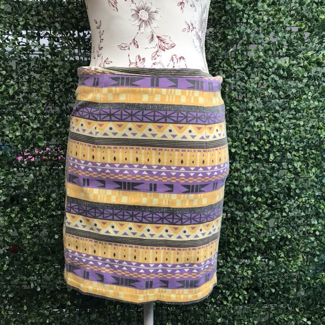 Yellow Aztec Bandage Skirt