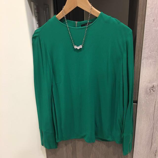 Zara 亮綠 襯膚 後拉鏈 上衣