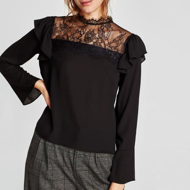 Zara Lace Ruffle Blouse