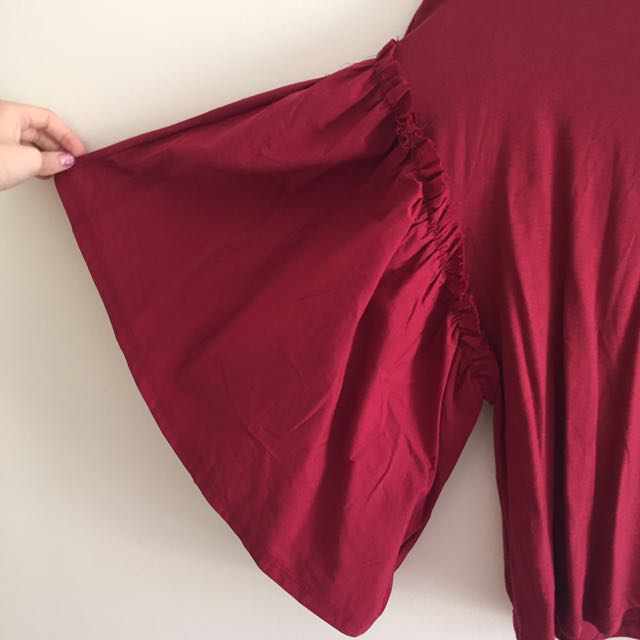 Zara red flare sleeve top