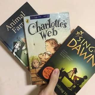 Animal farm, Charlotte's web, sing to the dawn books
