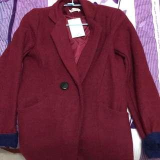 🚚 全新紅色毛呢雙色外套大衣