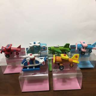 Wooden mini airplanes and helicopters
