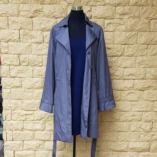 PRE-LOVED PEWTER TRENCH COAT w/ DRAWSTRING