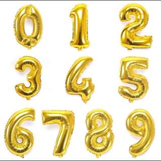 🔥READY STOCK🔥 PARTY GOLDEN METALLIC BALLOONS NUMBER