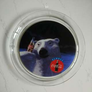 Coca-Cola 裝飾 玻璃碟 vintage polar bear platter