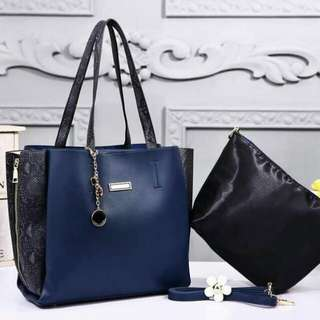 Charles & Keith Tote Bag 2 in 1 Blue Color