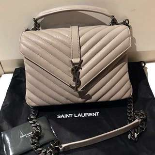 全新 YSL Saint Laurent medium College Bag in light grey (Original price $17500)