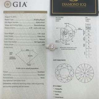 ✏ 主石GIA證書 1.01卡 Faint Pink 圓石💎罕有❗平❗ 💖 圍一圈粉紅鑽再加白碎鑽托💍破低價$68000👈拎走