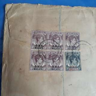 STRAITS SETTLEMENTS - 1945 - IPOH TO india vintage Postal History Cover B.M.A George BRITISH MILITARY ADMINISTRATION -  im96