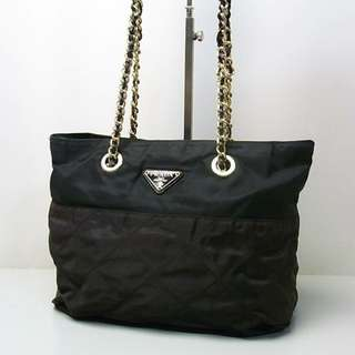 Vintage Prada chain bag 黑拼灰