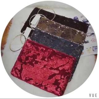 Velour and sequinned clutch by LYLLOU PARIS