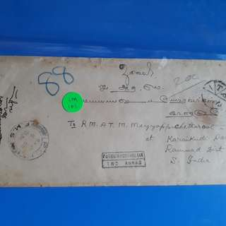 "MALAYA 1934 - IPOH TO india vintage Postal History Cover with "" POSTAGE DUE "" -  im101"
