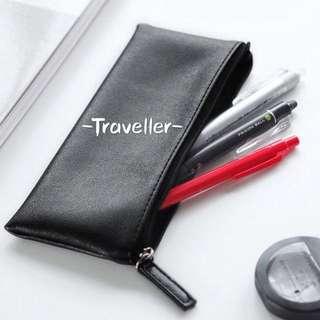 BNIP Pure Black Pu Leather Pencil Case