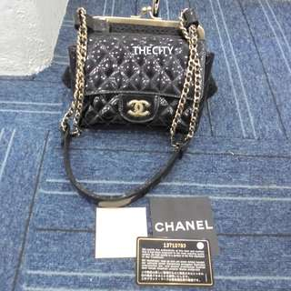 "AUTHENTIC CHANEL PATENT LEATHER FLAP BAG & CLUTCH (""2 IN 1"" BAG)"